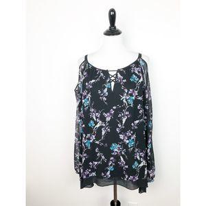 WHBM Floral Cold Should Long Sleeve Blouse XL